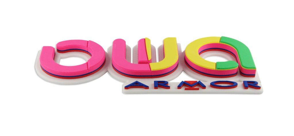 Logo OWA/ARMOR imprimé en filaments 3D éco-responsables PS OWA