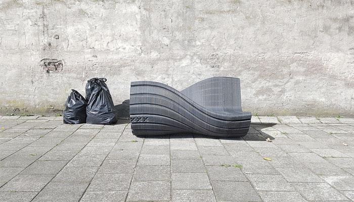 Mobilier imprimé en 3D : le XXX Bench, un banc imprimé à partir de déchets plastiques