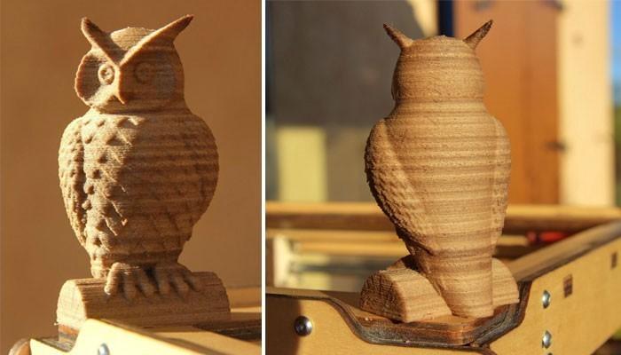 Choisir son filament 3D selon le matériau - Exemple d'une hibou imprimé en 3D à partir d'un filament à base de bois