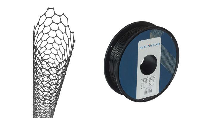 Des fibres de carbone sont intégrées dans le filament 3D PETG Carbon