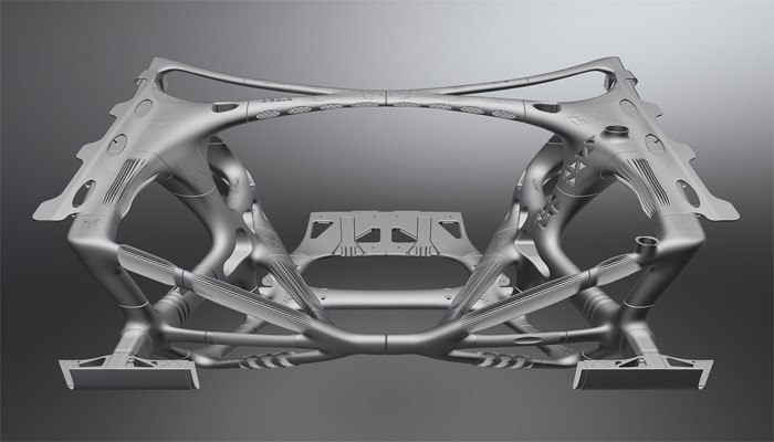 Structure avant d'une Volkswagen conçue grâce à l'optimisation topologique