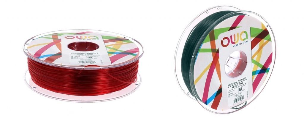 2 bobines de filament petg-s owa : rouge translucide et noir translucide