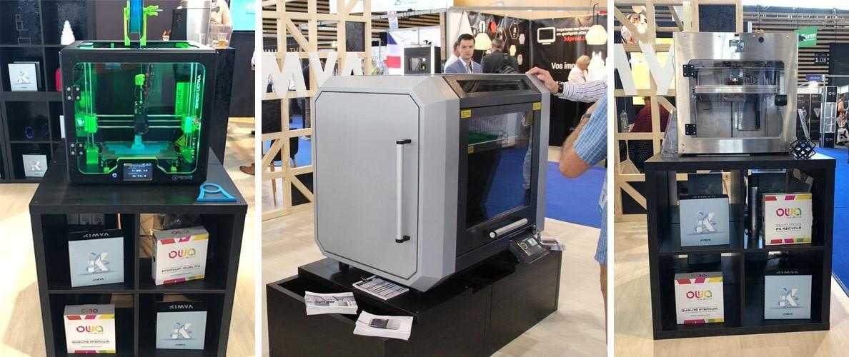 Imprimantes 3D présentes sur le stand Kimya du 3D Print 2018 : Volumic - German RepRap - Rodri
