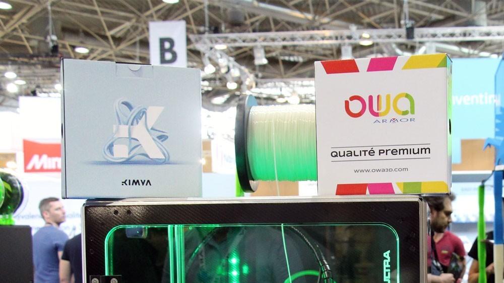Boite de bobine Kimya et OWA sur une imprimante VOLUMIC - Salon 3D Print 2018