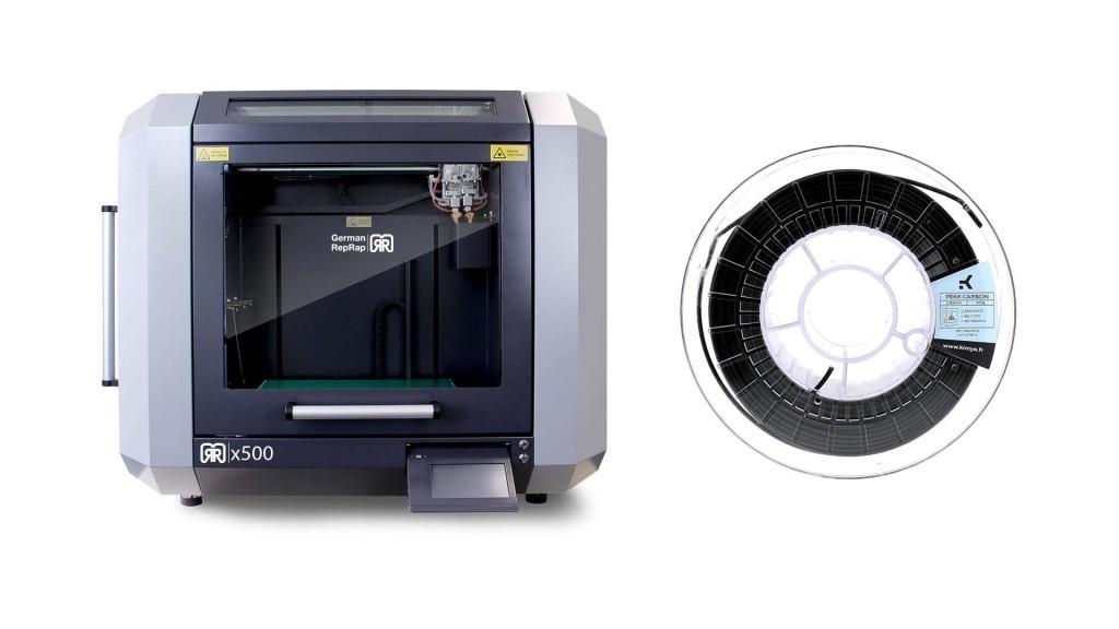 Imprimante 3D FDM German Reprap x500 et une bobine de PEKK Carbon